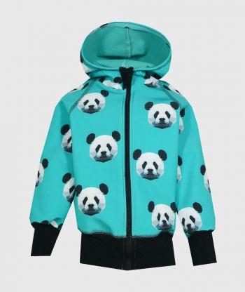 Waterproof Softshell Hoodie Pixel Panda Mint