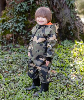 Waterproof Softshell Overall Comfy Green/Orange Military Jumpsuit