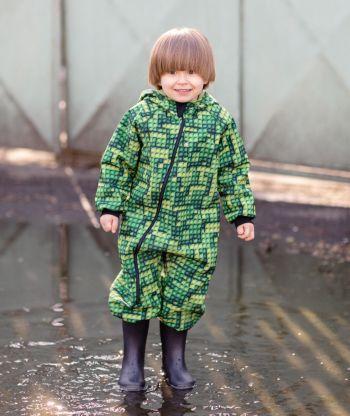 Waterproof Softshell Overall Comfy Lego Bricks Green Jumpsuit