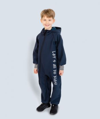 Waterproof Softshell Overall Comfy Ultramarine Striped Cuffs Jumpsuit