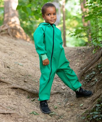Waterproof Softshell Overall Comfy Green Striped Cuffs Jumpsuit