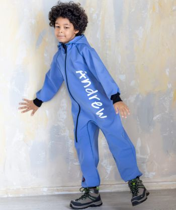 Waterproof Softshell Overall Comfy Morning Blue Jumpsuit