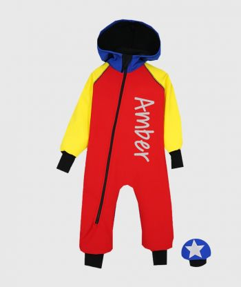 Waterproof Softshell Overall Comfy Red/Yellow/Blue Jumpsuit