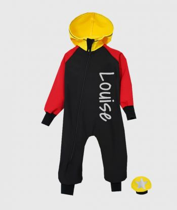 Waterproof Softshell Overall Comfy Black/Red/Yellow Jumpsuit
