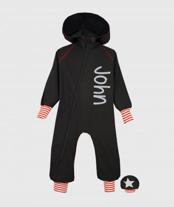 Waterproof Softshell Overall Comfy Black Striped Red/White Cuffs Jumpsuit