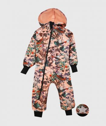 Waterproof Softshell Overall Comfy Flowers And Birds Jumpsuit