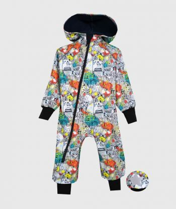 WATERPROOF SOFTSHELL OVERALL COMFY GRAFFITI MONSTERS JUMPSUIT