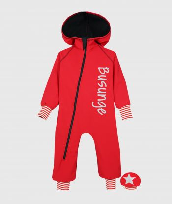 Waterproof Softshell Overall Comfy Red Striped Cuffs Jumpsuit
